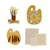 Kunstversorgungs- und -werkzeugvektorsatz Malereiwerkzeug-Ikonensatz Materialien für das Malen Stockbilder