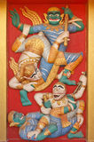 Kunstwand über Fallhammer zum Krieg mit Dämon Lizenzfreies Stockbild