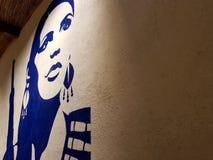 Kunstwerk aangaande de muur van een restaurant van een moedige vrouw die passionately haar geliefd Mexico verdedigde Een heldin stock afbeelding