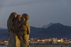 Kunstwerk dat migranten herinnert stock afbeeldingen