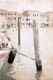 Kunstwerk in grungestijl, Venetië Stock Foto