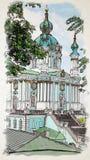 Kunstwerk in het schilderen stijlst Andrew ` s illustra van Kerkwaterolor royalty-vrije illustratie