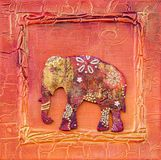 Kunstwerk met olifants Indische stijl Royalty-vrije Stock Foto