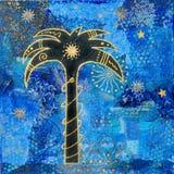 Kunstwerk met palmtree Stock Afbeeldingen