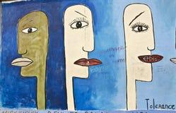 Kunstwerk op Berlin Wall, Berlijn, Duitsland Stock Afbeeldingen