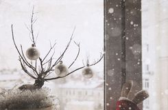 Kunstwerk in uitstekende stijl, Kerstmisdecoratie stock afbeelding