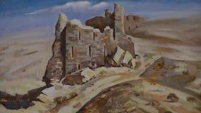 Kunstwerk van Beschadigde Muur in Woestijn stock video