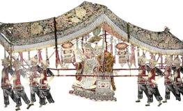 Kunstwerk van Chinees schaduwspel Stock Foto's