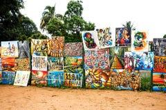 Kunstwerk voor verkoop in Mozambique stock afbeelding
