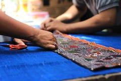Kunstwerkmuster des Gewebes Chiang Mai Thailand Stockfotos