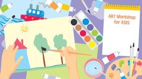 Kunstwerkstatt für Kinderhintergrund stockbilder