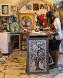 Kunstwinkel in het kunstenaarskwart, Safed, Isra?l stock foto