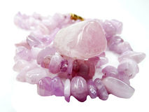Kunzite gemstone beads necklace jewelery Stock Images