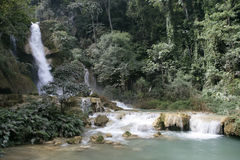 Kuoang Si waterfall. Streams of Kuoan Si waterfall in Laos Royalty Free Stock Photo
