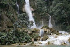 Kuoang Si waterfall in Laos. Streams of Kuoan Si waterfall in Laos Stock Image