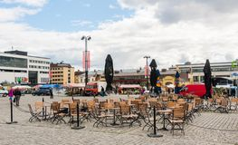 Kuopio, Northern Savonia, Finland, June 16, 2015: central square. And cafe in summer stock photos
