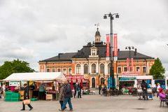 Kuopio, Northern Savonia, Finland, June 16, 2015: Town Hall and central square. In summer stock images