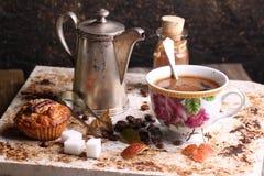 Kupa av coffe på frukost Arkivfoton