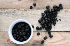 Kupa av kaffe och kaffebönor Royaltyfri Fotografi