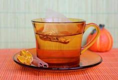 Kupa av tea med tea hänger lös Fotografering för Bildbyråer