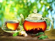 Kupa av tea och teapoten. Royaltyfri Fotografi