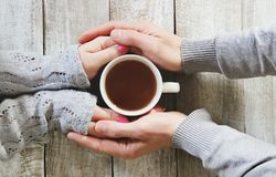 Kupa av tea räcker in Fotografering för Bildbyråer