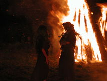 Kupala night. Traditional fire dance at Kupala night - the shortest night in the year royalty free stock photos