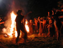 Kupala night. Traditional fire dance at Kupala night - the shortest night in the year Royalty Free Stock Image