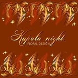 Kupala night. Blooming of the fern. Poster, frame, greeting card with flower leaves and place for text. The image can be used to decorate invitations to a Royalty Free Stock Photo