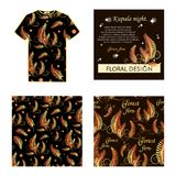 Kupala night. The golden fern. Set: T-shirt, postcard, pattern. Blossoming forest fern at night. Poster with place for text. The image can be used in perfumery Royalty Free Stock Photography