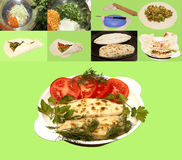 Kupaty fried pastry stuffed with onions, parsley, dill coriander. Spinach, cabbage and carrots with olive oil the dough thin and tasty food for health Stock Images