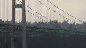 Kupczy i meandruje na burzowym dniu wzdłuż strony most zdjęcie wideo