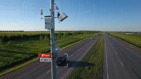 Kupczy prędkości radarową tropi kontrolną ilustrację z infographic samochodu prędkości samochodowym automatycznym wykryciem i wys zbiory wideo