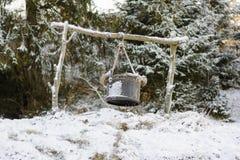 Kupfer im Schnee Stockfotos