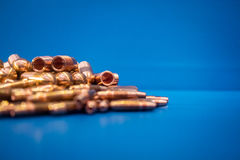 Kupfer- und Kappentipps Stockfoto