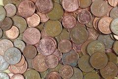 Kupfermünzehintergrund. Lizenzfreie Stockfotos