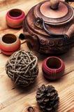 Kupferne alte Teekanne Lizenzfreies Stockfoto