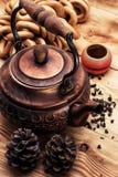 Kupferne alte Teekanne Lizenzfreies Stockbild