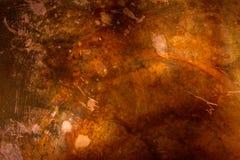 Kupferne Beschaffenheit verwitterter gealterter Metallmessing stockfoto