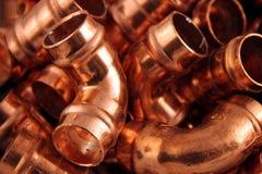 Kupferne Beschläge der Klempner Stockbild