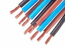 Kupferne elektrische Drähte Stockfoto