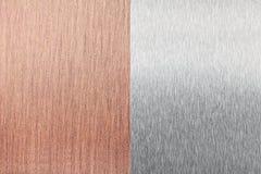 Kupferne Folie und Beschaffenheit der Aluminiumfolie (Blatt) Stockbild