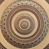 Kupferne geometrische abstrakte Bronzeverzierung runder Fractal-Musterhintergrund Metallkreismuster-Effekthintergrund Konzeptkuns Stockfotografie