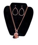 Kupferne Halskette und Ohrringe Lizenzfreie Stockbilder
