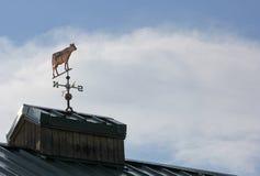 Kupferne Kuh-Wetterfahne mit der Kuh, die nach Westen zeigt lizenzfreie stockfotos