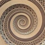 Kupferner geometrischer abstrakter Verzierungsspirale Fractal-Musterbronzehintergrund Metallgewundener Muster-Effekthintergrund K stock abbildung