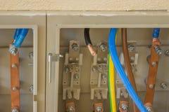 Kupfernes elektrisches Stromkabel bereit zum Verbindungsstück lizenzfreie stockbilder