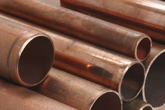 Kupferrohre stockfotos