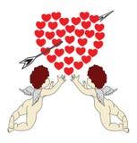 Kupidon med röda hjärtor Arkivbild