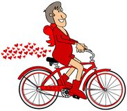 Kupidon som rider en röd cykel vektor illustrationer